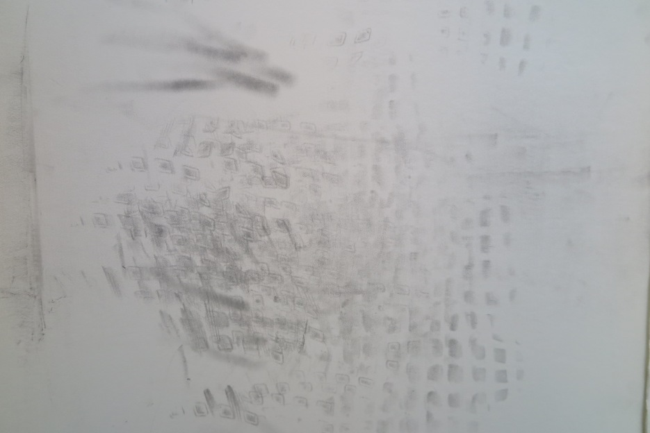 Installation SMN Station underpass (FI). The beggar, cotton paper, graphite, 77 x 114 cm