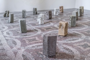 Clay, food, animal footprints, 35 x 16 x 16 cm