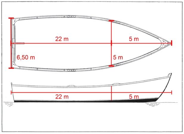 Misure/size Scialuppa di Dante